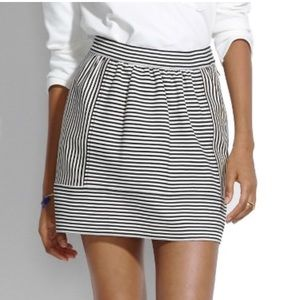 Madewell Ponte Swivel Skirt in Black/White Stripe